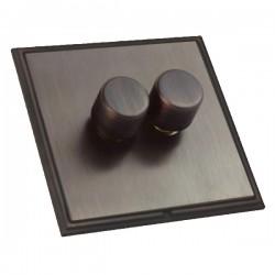 Hamilton Linea-Scala CFX Etrium Bronze/Etrium Bronze 2 Gang 100W Intelligent LED Dimmer