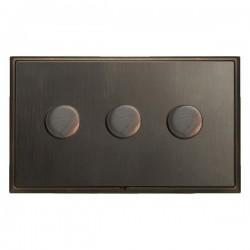 Hamilton Linea-Scala CFX Etrium Bronze/Etrium Bronze 3 Gang 100W Intelligent LED Dimmer