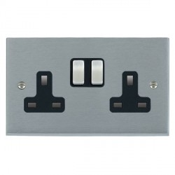 Hamilton Cheriton Victorian Satin Chrome 2 Gang 13A Switched Socket - Double Pole with Black Insert