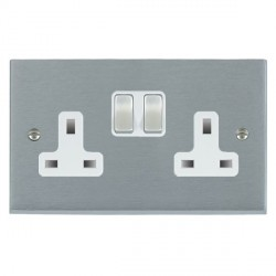 Hamilton Cheriton Victorian Satin Chrome 2 Gang 13A Switched Socket - Double Pole with White Insert
