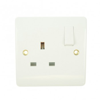 Click Mode Single 13amp White PVC Socket