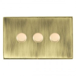 Hamilton Linea-Duo CFX Polished Brass/Antique Brass 3 Gang 100W Intelligent LED Dimmer