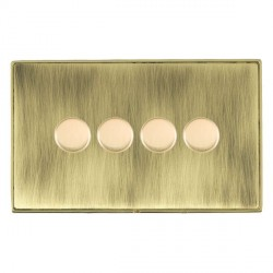 Hamilton Linea-Duo CFX Polished Brass/Antique Brass 4 Gang 100W Intelligent LED Dimmer