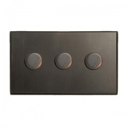 Hamilton Linea-Duo CFX Etrium Bronze/Etrium Bronze 3 Gang 100W Intelligent LED Dimmer