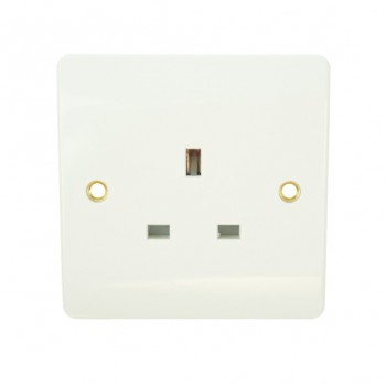 Click Mode Single 13amp White PVC Unswitched Socket