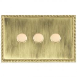 Hamilton Linea-Georgian CFX Polished Brass/Antique Brass 3 Gang 100W Intelligent LED Dimmer