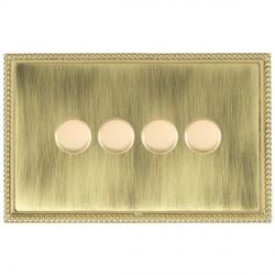 Hamilton Linea-Georgian CFX Polished Brass/Antique Brass 4 Gang 100W Intelligent LED Dimmer