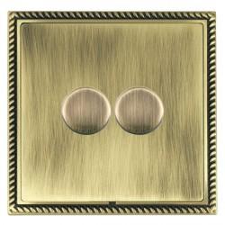 Hamilton Linea-Georgian CFX Antique Brass/Antique Brass 2 Gang 100W Intelligent LED Dimmer