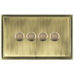 Hamilton Linea-Georgian CFX Antique Brass/Antique Brass 4 Gang 100W Intelligent LED Dimmer