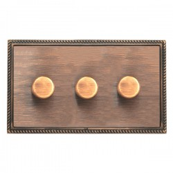 Hamilton Linea-Georgian CFX Copper Bronze/Copper Bronze 3 Gang 100W Intelligent LED Dimmer