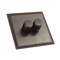 Hamilton Linea-Georgian CFX Etrium Bronze/Etrium Bronze 2 Gang 100W Intelligent LED Dimmer