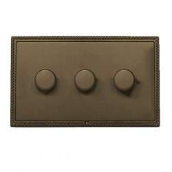 Hamilton Linea-Georgian CFX Richmond Bronze/Richmond Bronze 3 Gang 100W Intelligent LED Dimmer