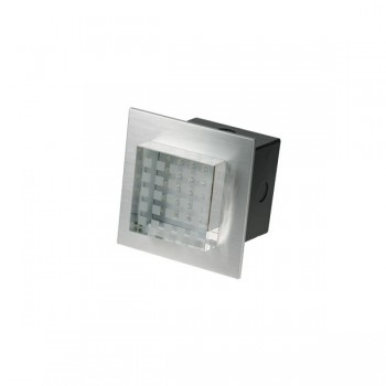 Click Ovia LED450BABL 230V IP54 Blue LED Square Semi-Recessed Brushed Aluminium Light