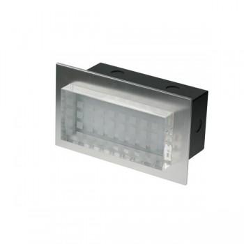 Click Ovia LED455BAWH 230V IP54 Cool White LED Rectangular Semi-Recessed Brushed Aluminium Light