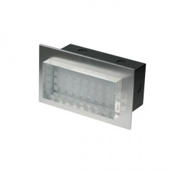 Click Ovia LED455BABL 230V IP54 Blue LED Rectangular Semi-Recessed Brushed Aluminium Light