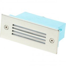Click Ovia LED475SSBL 230V IP54 Blue LED Rectangular Recessed Stainless Steel Light Slatted Glass