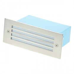 Click Ovia LED480SSBL 230V IP54 Blue LED Rectangular Recessed Stainless Steel Light Slatted Glass