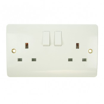 Click Mode Double 13amp White PVC Socket