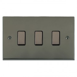 Hamilton Cheriton Victorian Black Nickel 3 Gang Multi way Touch Master Trailing Edge with Black Insert