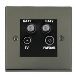 Hamilton Cheriton Victorian Black Nickel TV+FM+SAT+SAT (DAB Compatible) with Black Insert