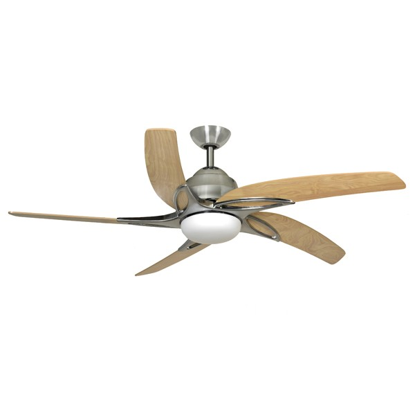 Fantasia Viper 44 Inch Remote Control Stainless Steel Ceiling Fan With Maple Blades And Light At