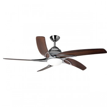 Fantasia Viper 44 inch Remote Control Stainless Steel Ceiling Fan with Dark Oak Blades and Light