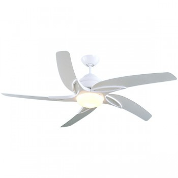 Fantasia Viper 54 inch Remote Control White Ceiling Fan with Gloss White Blades and LED Light