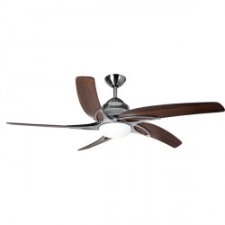 Fantasia Viper 54 inch Remote Control Stainless Steel Ceiling Fan with Dark Oak Blades and LED Light