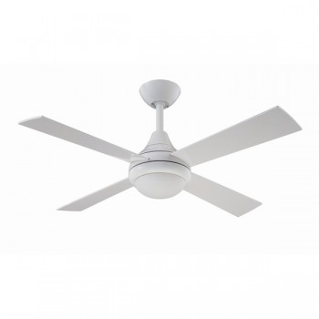 Fantasia Sigma 42 inch Remote Control White Ceiling Fan with Gloss White Blades and Light
