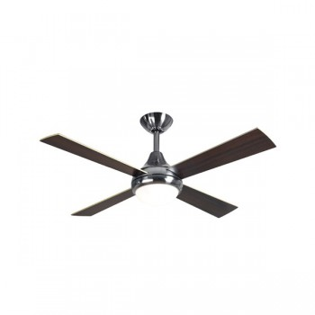 Fantasia Sigma 42 inch Remote Control Stainless Steel Ceiling Fan with Reversible Matt Maple/Dark Oak Blades and Light