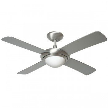 Fantasia Orion 44 inch Remote Control Brushed Aluminium Ceiling Fan with Matt Silver Blades and Light