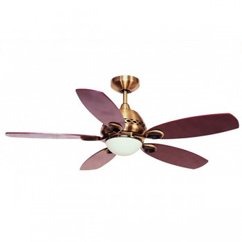 Fantasia Phoenix 42 inch Remote Control Antique Brass Ceiling Fan with Gloss Mahogany Blades and Light