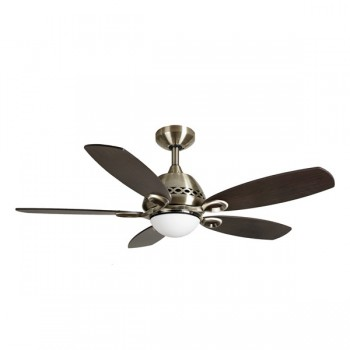 Fantasia Phoenix 42 inch Remote Control Stainless Steel Ceiling Fan with Dark Oak Blades and Light