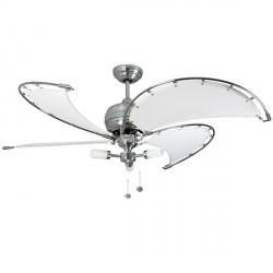 Fantasia Spinnaker 40 inch Pull Cord Stainless Steel Ceiling Fan with White Canvas Blades and Sparta Light Kit