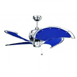 Fantasia Spinnaker 40 inch Pull Cord Stainless Steel Ceiling Fan with Blue Canvas Blades