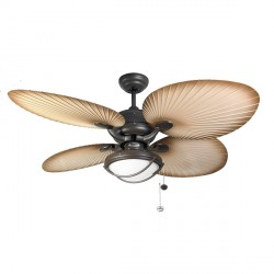Fantasia Palm 52 inch Pull Cord Chocolate Brown IP54 Rated Outdoor Ceiling Fan with Natural Acrylic Blade...