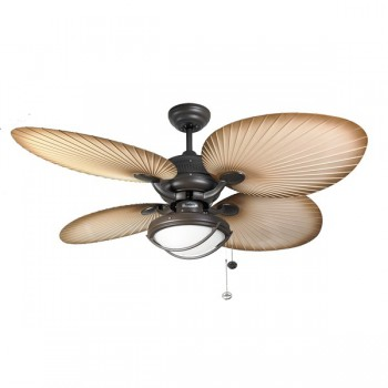 Fantasia Palm 52 inch Pull Cord Chocolate Brown IP54 Rated Outdoor Ceiling Fan with Natural Acrylic Blades and Single Patio Light