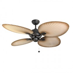 Fantasia Palm 52 inch Pull Cord Chocolate Brown IP54 Rated Outdoor Ceiling Fan with Natural Acrylic Blades
