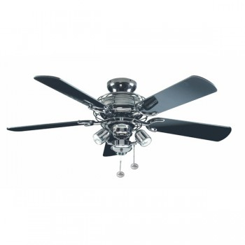 Fantasia Gemini 42 inch Pull Cord Pewter Ceiling Fan with Gloss Black Blades and Venice Light