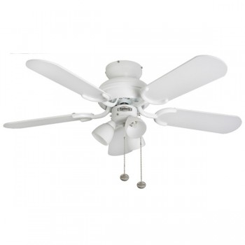 Fantasia Amalfi 36 inch Pull Cord Gloss White Ceiling Fan with Matt White Blades and 3 Light Cluster