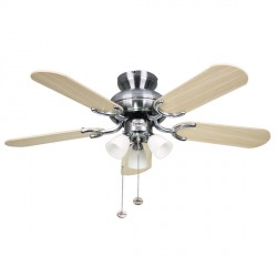 Fantasia Amalfi 36 inch Pull Cord Stainless Steel Ceiling Fan with Reversible Washed Oak/Silver Blades and 3 Light Cluster