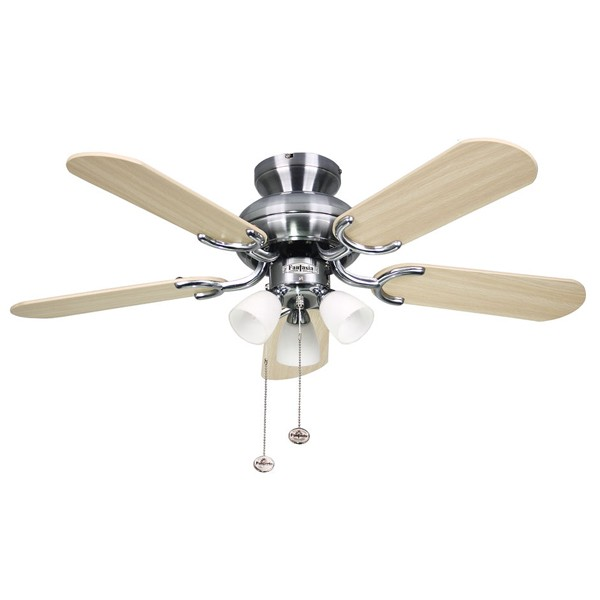 Ceiling Fans With Electrical Cords : Fantasia amalfi inch pull cord stainless steel ceiling
