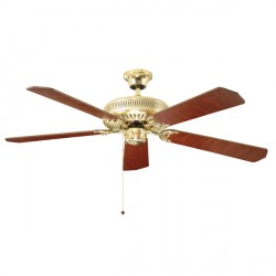Fantasia Classic 52 inch Pull Cord Polished Brass Ceiling Fan with Reversible Matt Oak and Cane/Matt Mahogany Blades