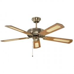 Fantasia Classic 52 inch Pull Cord Antique Brass Ceiling Fan with Reversible Matt Oak and Cane/Matt Mahogany Blades