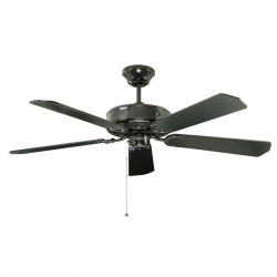 Fantasia Classic 52 inch Pull Cord Gloss Black Ceiling Fan with Reversible Matt Black/Matt Mahogany Blades