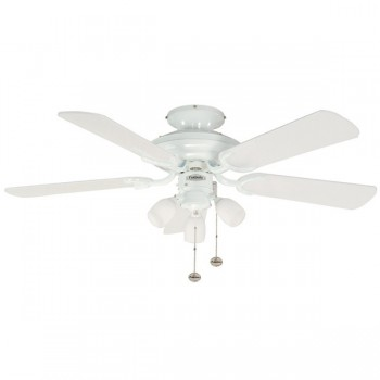 Fantasia Mayfair 42 inch Pull Cord Gloss White Ceiling Fan with Gloss White Blades and Amorie Light Kit