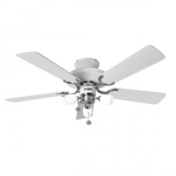 Fantasia Mayfair 42 inch Pull Cord White and Stainless Steel Ceiling Fan with Gloss White Blades and Amorie Light Kit
