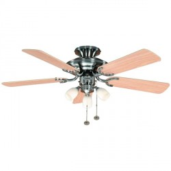 Fantasia Mayfair 42 inch Pull Cord Stainless Steel Ceiling Fan with Reversible Washed Oak/Matt Maple Blades and Amorie Light Kit