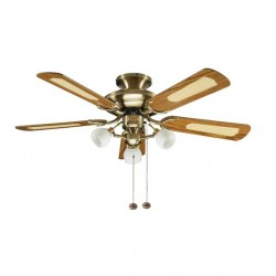 Fantasia Mayfair 42 inch Pull Cord Antique Brass Ceiling Fan with Reversible Gloss Oak and Cane/Gloss Mahogany Blades and Florence Light Kit