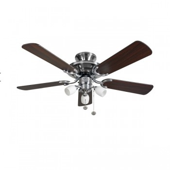 Fantasia Mayfair 42 inch Pull Cord Stainless Steel Ceiling Fan with Dark Oak Blades and Amorie Light Kit